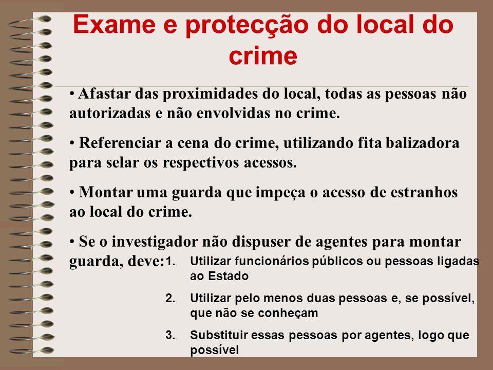 Exame e protecção do local do crime Afastar das proximidades do local, todas as pessoas não autorizadas e não envolvidas no crime. Referenciar a cena