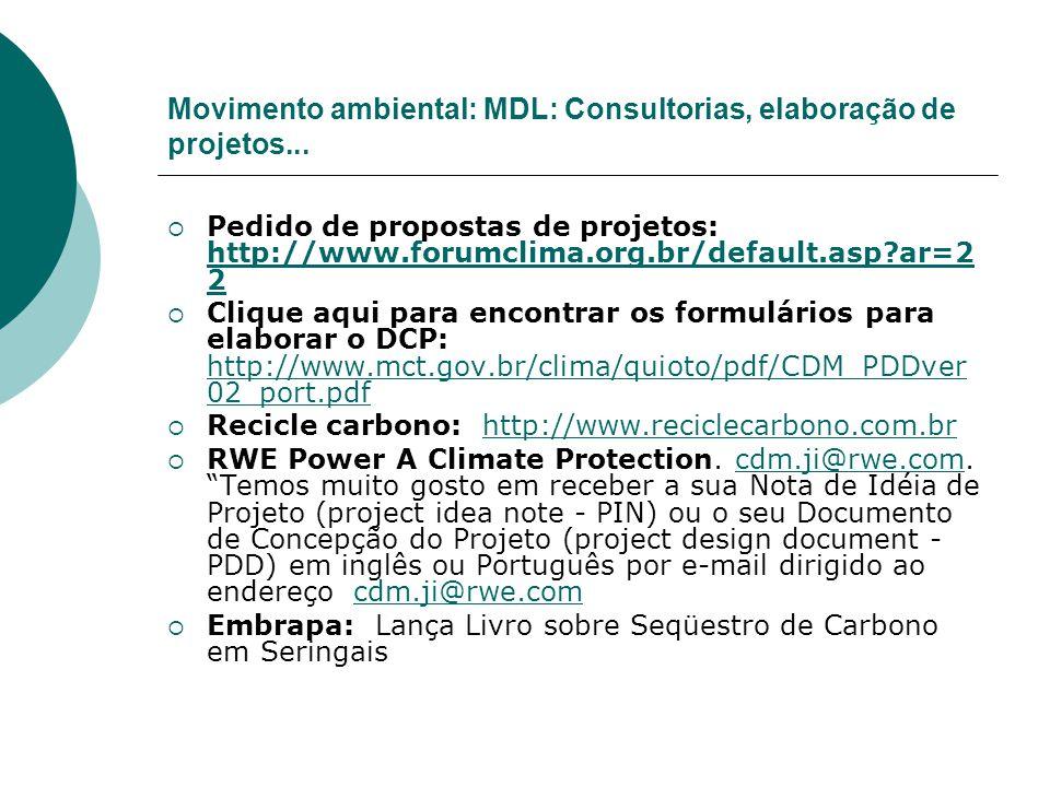 Movimento ambiental: MDL: Consultorias, elaboração de projetos... Pedido de propostas de projetos: http://www.forumclima.org.br/default.asp?ar=2 2 htt