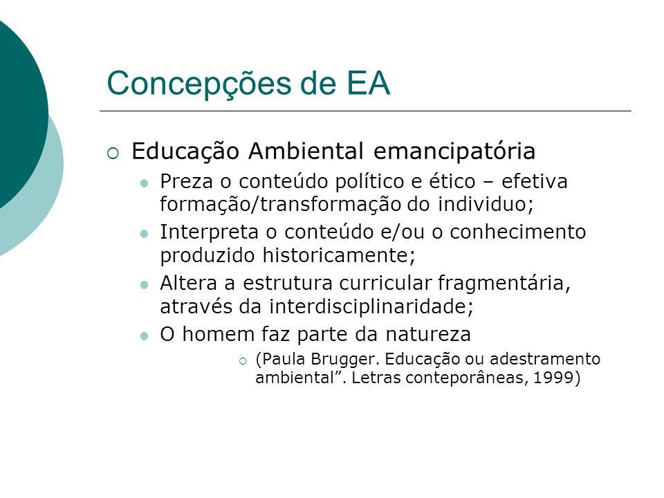 Concepções de EA Educação Ambiental emancipatória Preza o conteúdo político e ético – efetiva formação/transformação do individuo; Interpreta o conteú