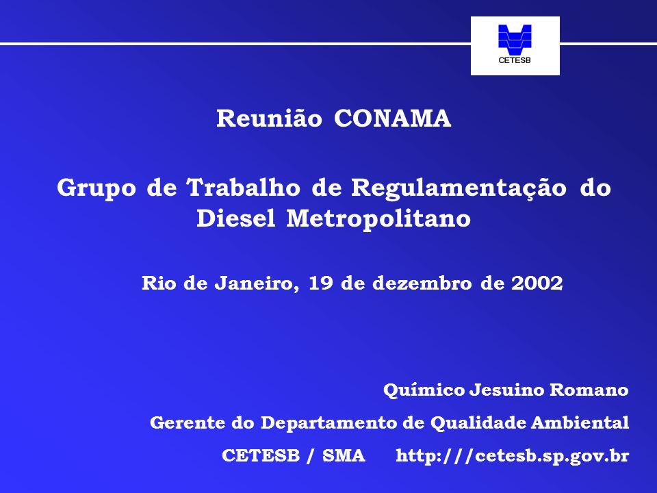 Reunião CONAMA Grupo de Trabalho de Regulamentação do Diesel Metropolitano Rio de Janeiro, 19 de dezembro de 2002 Químico Jesuino Romano Gerente do Departamento de Qualidade Ambiental CETESB / SMA http:///cetesb.sp.gov.br