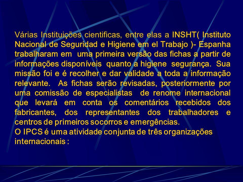 Várias Instituições cientificas, entre elas a INSHT( Instituto Nacional de Seguridad e Higiene em el Trabajo )- Espanha trabalharam em uma primeira versão das fichas a partir de informações disponíveis quanto a higiene segurança.