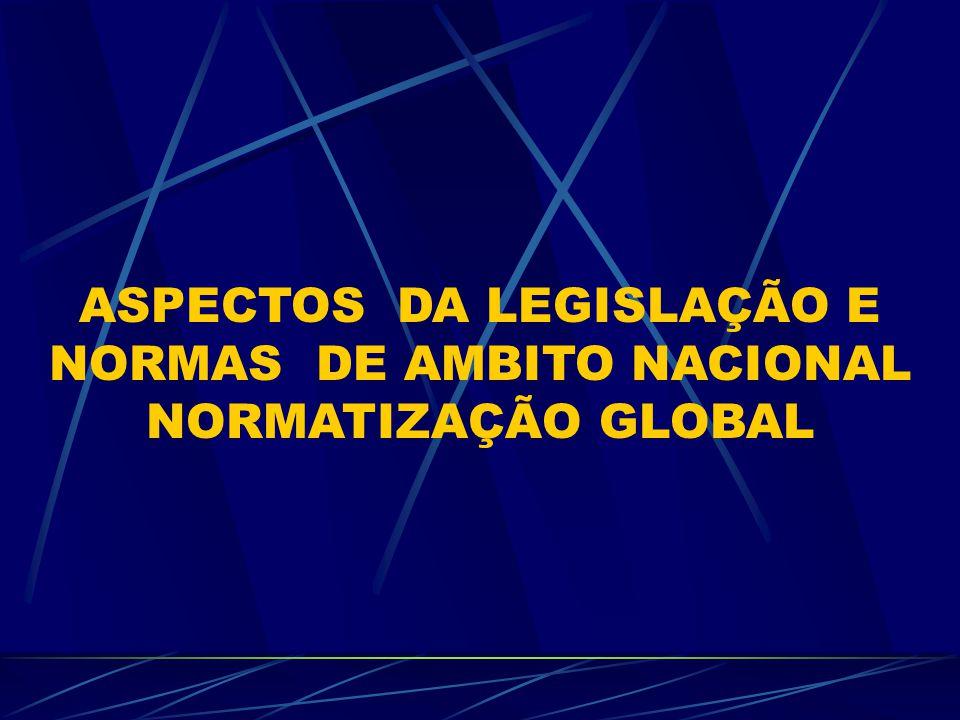 ASPECTOS DA LEGISLAÇÃO E NORMAS DE AMBITO NACIONAL NORMATIZAÇÃO GLOBAL