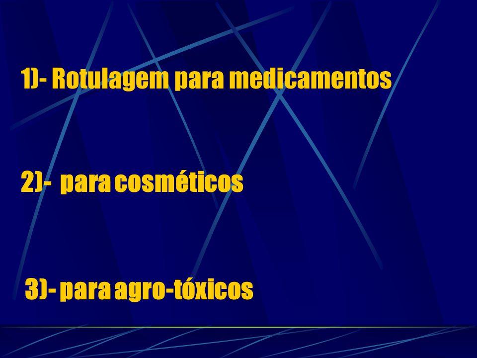 1)- Rotulagem para medicamentos 2)- para cosméticos 3)- para agro-tóxicos