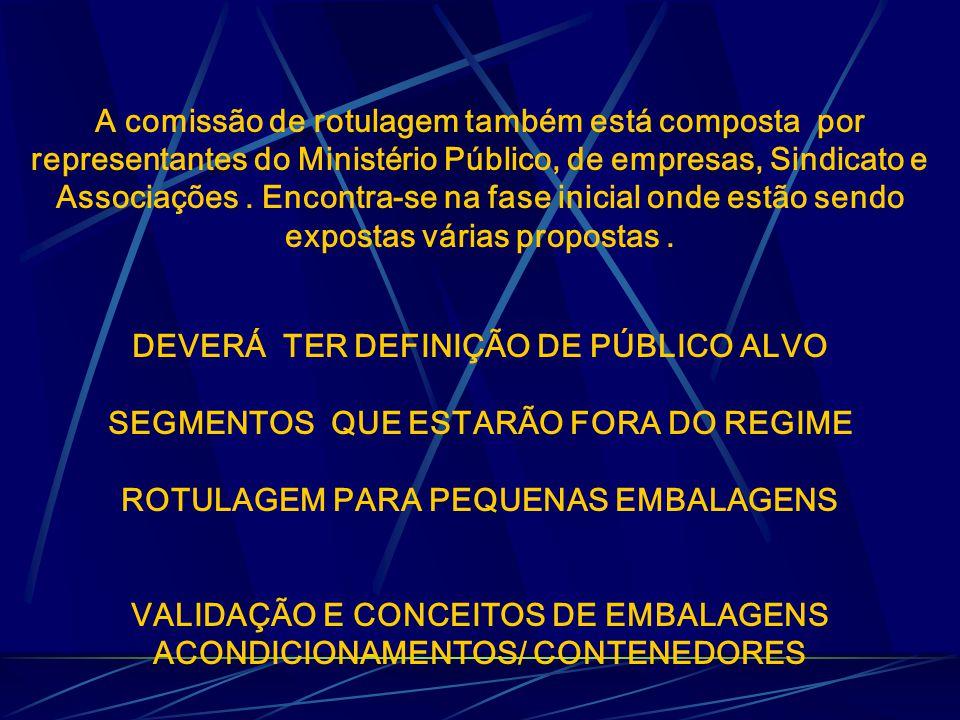 A comissão de rotulagem também está composta por representantes do Ministério Público, de empresas, Sindicato e Associações.