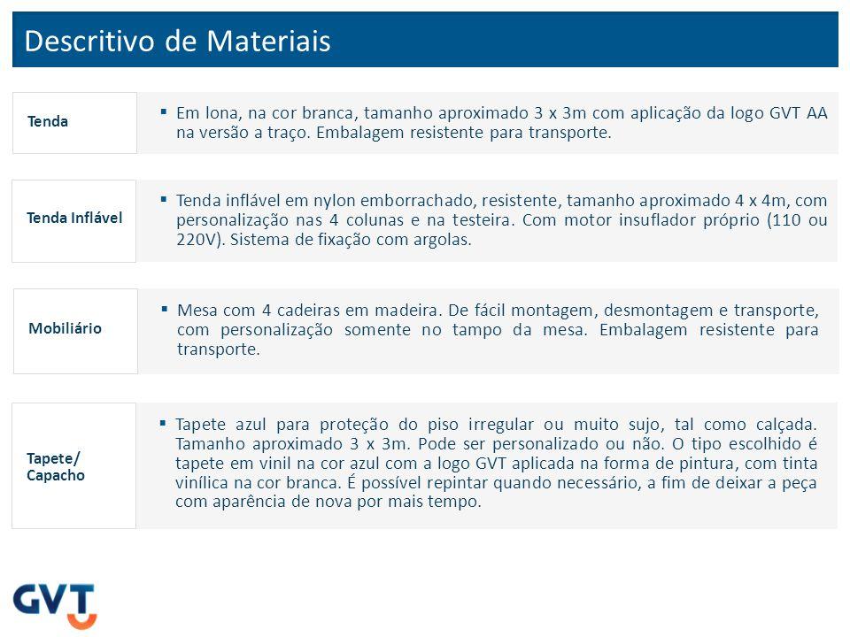 Tapete / Capacho Dados do Fornecedor Razão Social: Masterkap Capachos Cidade: Curitiba-PR Fone: (41) 3248-8191/0800.600.8191 Email: vendas07@masterkap.com.br Contato: Paola Pompeo Dados do FornecedorEspecificações Tapete alto tráfego, 1ª linha, antiderrapante, tamanho 3 x 3m, espessura 10mm, com 01 ano de garantia, na cor azul com logo em branco.