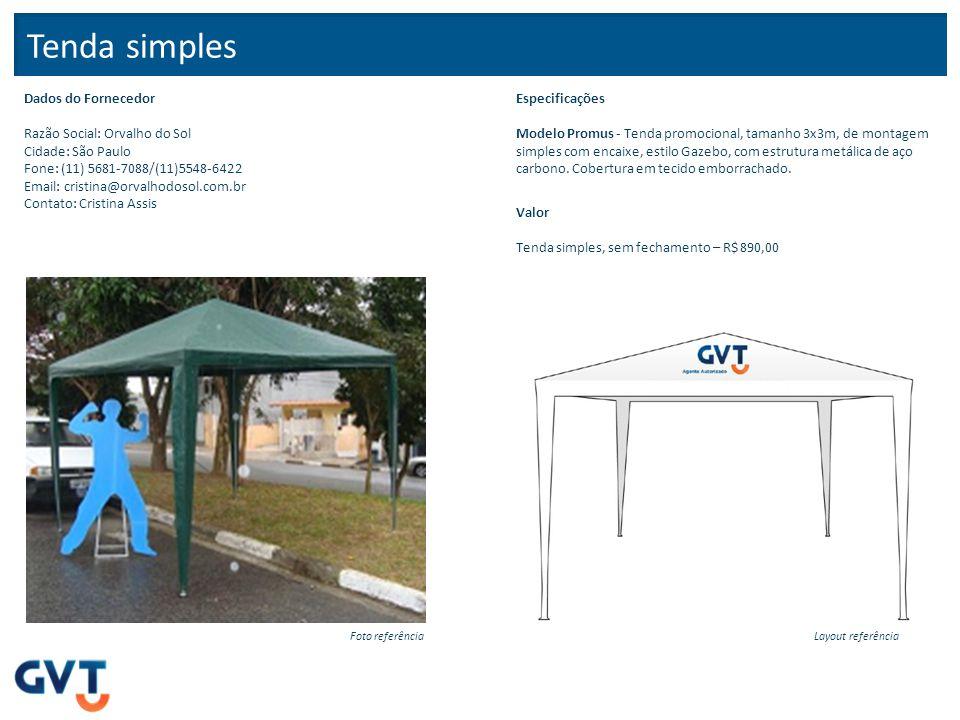 Tenda simples – montagem rápida Dados do Fornecedor Razão Social: Orvalho do Sol Cidade: São Paulo Fone: (11) 5681-7088/(11)5548-6422 Email: cristina@orvalhodosol.com.br Contato: Cristina Assis Especificações Modelo Start - Tenda tamanho 3x3m, de montagem semi-automática (demora menos de 1 minuto), com estrutura em X sanfonada.