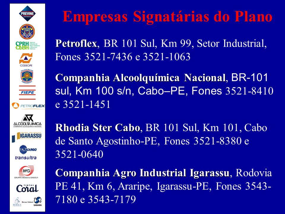 Empresas Signatárias do Plano Companhia Agro Industrial Igarassu Companhia Agro Industrial Igarassu, Rodovia PE 41, Km 6, Araripe, Igarassu-PE, Fones 3543- 7180 e 3543-7179 Petroflex Petroflex, BR 101 Sul, Km 99, Setor Industrial, Fones 3521-7436 e 3521-1063 Rhodia Ster Cabo Rhodia Ster Cabo, BR 101 Sul, Km 101, Cabo de Santo Agostinho-PE, Fones 3521-8380 e 3521-0640 Companhia Alcoolquímica Nacional Companhia Alcoolquímica Nacional, BR-101 sul, Km 100 s/n, Cabo–PE, Fones 3521-8410 e 3521-1451 transultra