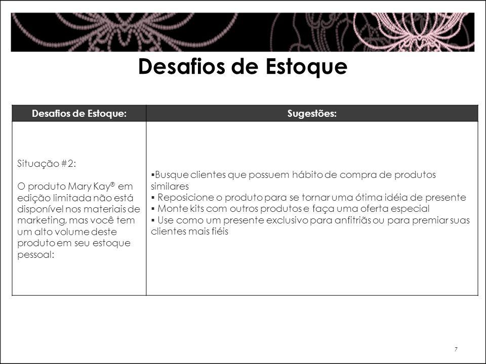 Desafios de Estoque 7 Desafios de Estoque:Sugestões: Situação #2: O produto Mary Kay ® em edição limitada não está disponível nos materiais de marketi
