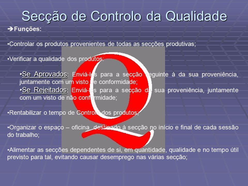 Secção de Controlo da Qualidade Funções: Controlar os produtos provenientes de todas as secções produtivas; Verificar a qualidade dos produtos: Se Apr