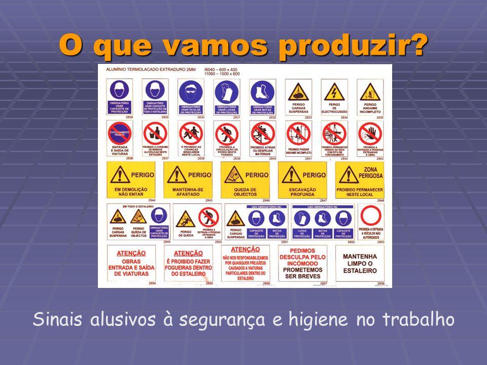 O que vamos produzir? Sinais alusivos à segurança e higiene no trabalho