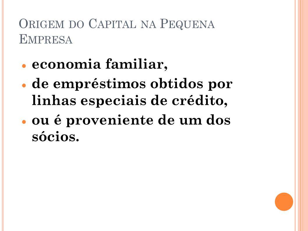 O RIGEM DO C APITAL NA P EQUENA E MPRESA economia familiar, de empréstimos obtidos por linhas especiais de crédito, ou é proveniente de um dos sócios.