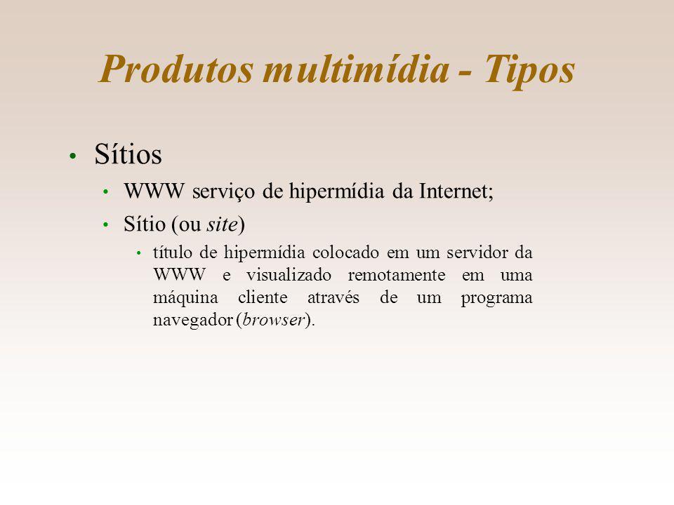 Produtos multimídia - Tipos Sítios WWW serviço de hipermídia da Internet; Sítio (ou site) título de hipermídia colocado em um servidor da WWW e visualizado remotamente em uma máquina cliente através de um programa navegador (browser).