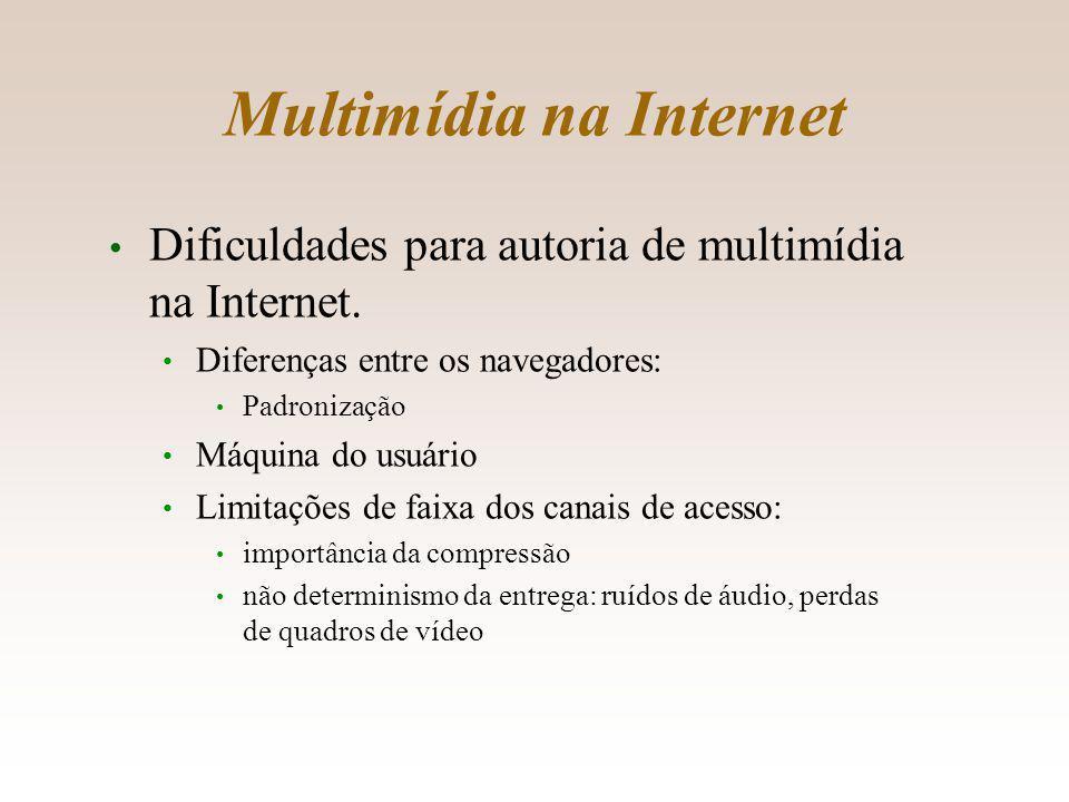 Multimídia na Internet Dificuldades para autoria de multimídia na Internet.