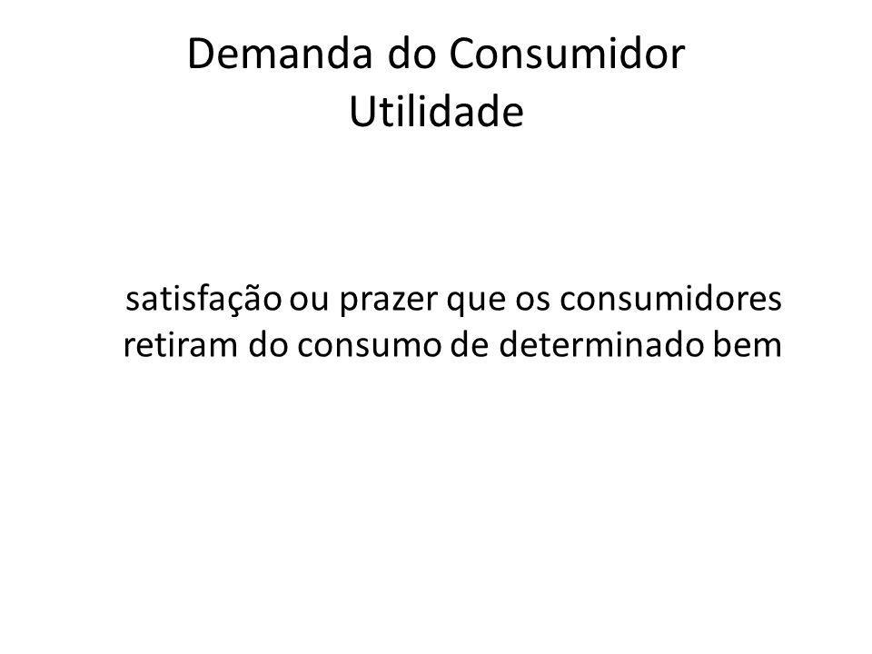 Demanda do Consumidor Utilidade satisfação ou prazer que os consumidores retiram do consumo de determinado bem