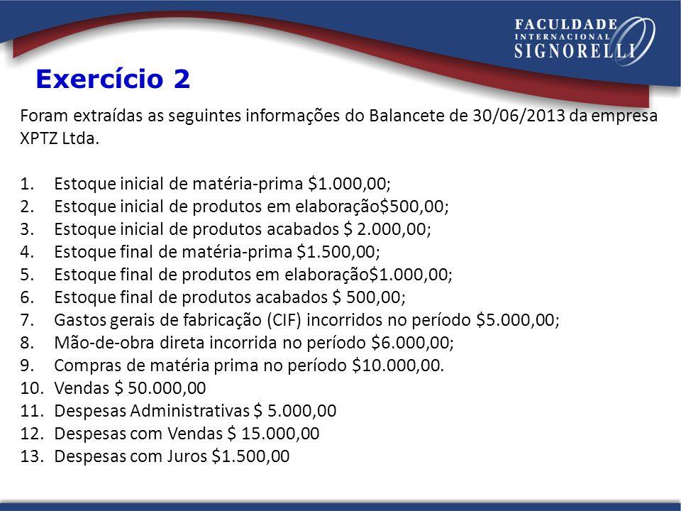 Foram extraídas as seguintes informações do Balancete de 30/06/2013 da empresa XPTZ Ltda. 1.Estoque inicial de matéria-prima $1.000,00; 2.Estoque inic