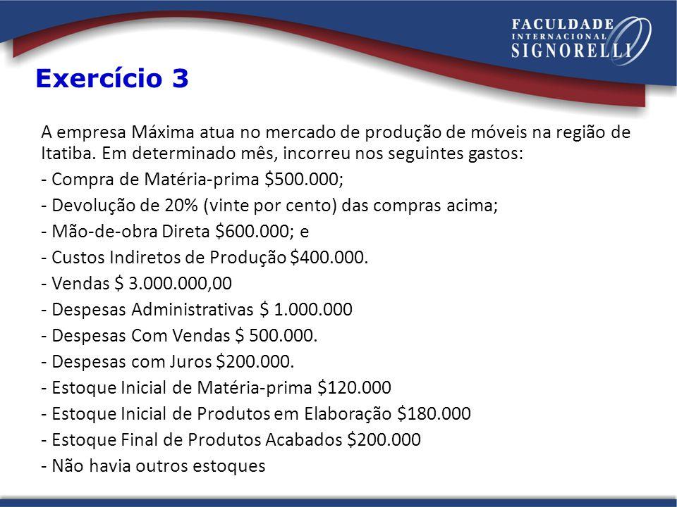 A empresa Máxima atua no mercado de produção de móveis na região de Itatiba. Em determinado mês, incorreu nos seguintes gastos: - Compra de Matéria-pr