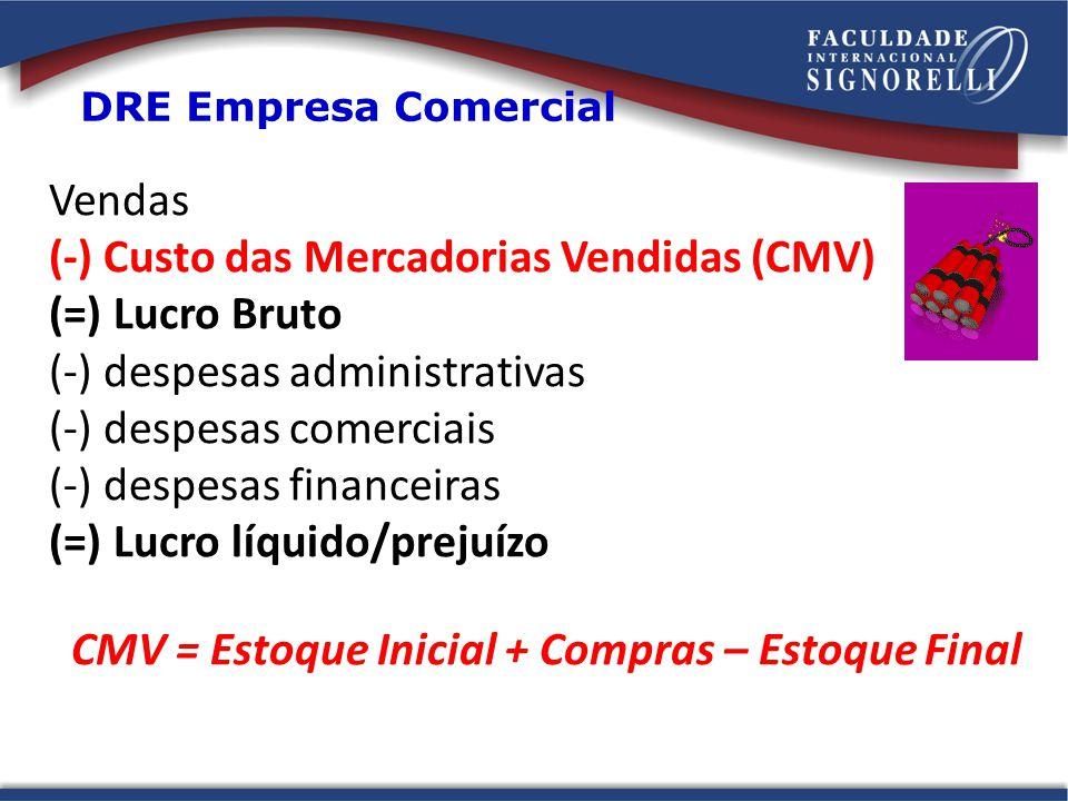 Vendas (-) Custo das Mercadorias Vendidas (CMV) (=) Lucro Bruto (-) despesas administrativas (-) despesas comerciais (-) despesas financeiras (=) Lucr