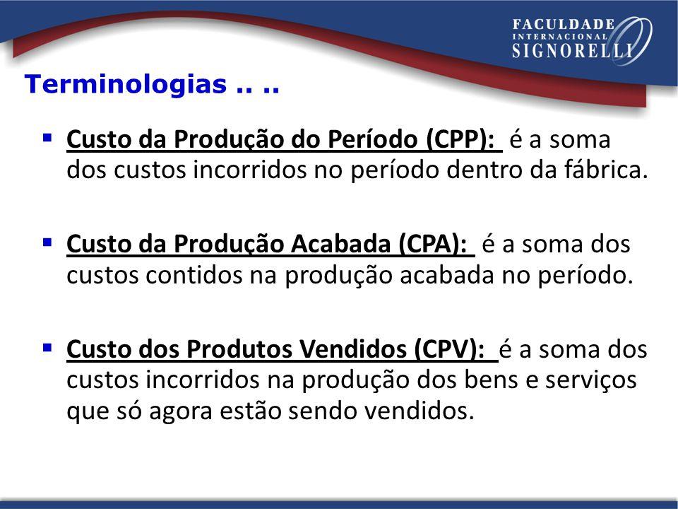 Custo da Produção do Período (CPP): é a soma dos custos incorridos no período dentro da fábrica. Custo da Produção Acabada (CPA): é a soma dos custos