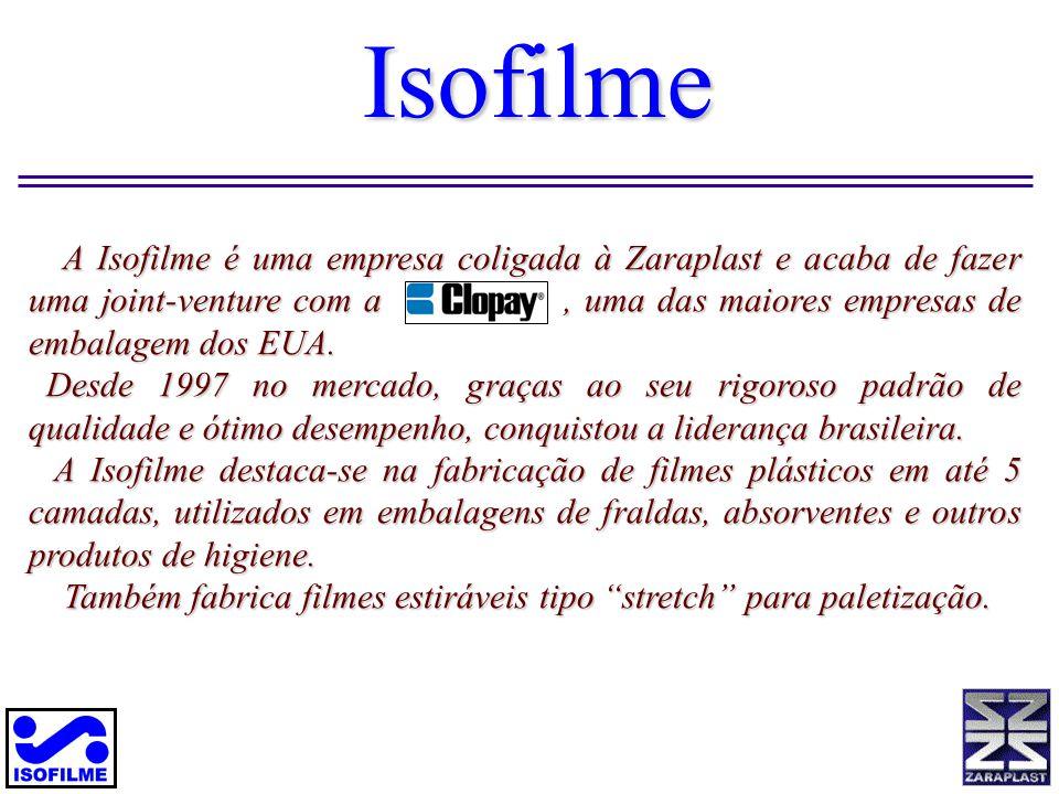 Isofilme A Isofilme é uma empresa coligada à Zaraplast e acaba de fazer uma joint-venture com a, uma das maiores empresas de embalagem dos EUA. A Isof