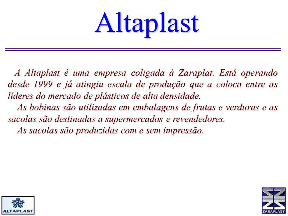 Altaplast A Altaplast é uma empresa coligada à Zaraplat. Está operando desde 1999 e já atingiu escala de produção que a coloca entre as líderes do mer