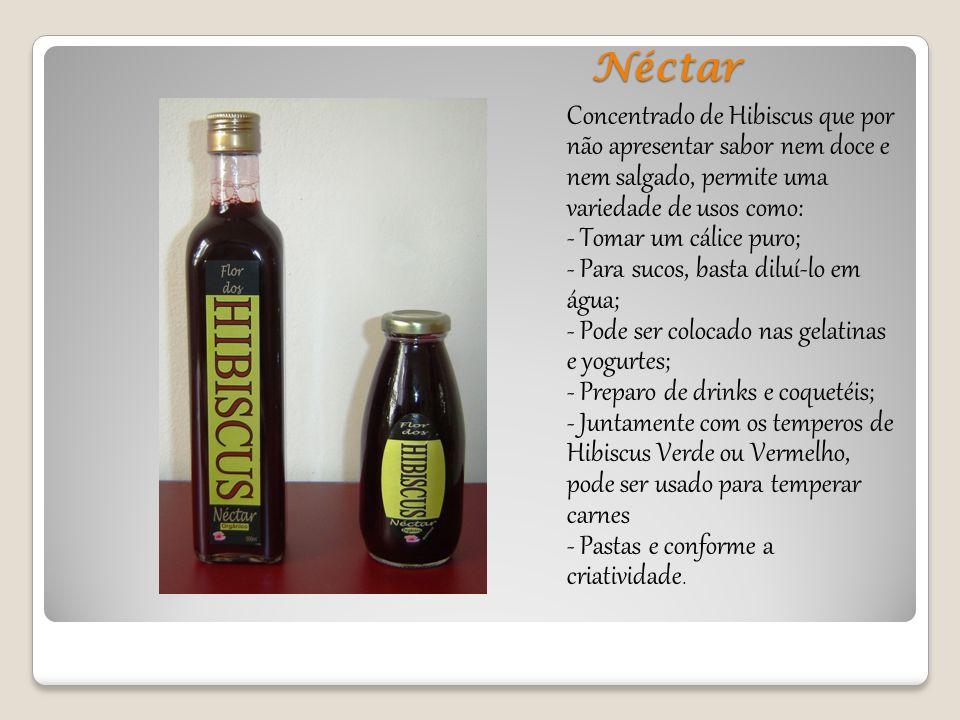 Néctar Concentrado de Hibiscus que por não apresentar sabor nem doce e nem salgado, permite uma variedade de usos como: - Tomar um cálice puro; - Para