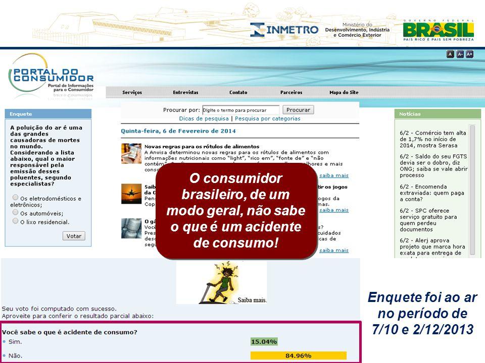 O consumidor brasileiro, de um modo geral, não sabe o que é um acidente de consumo! Enquete foi ao ar no período de 7/10 e 2/12/2013