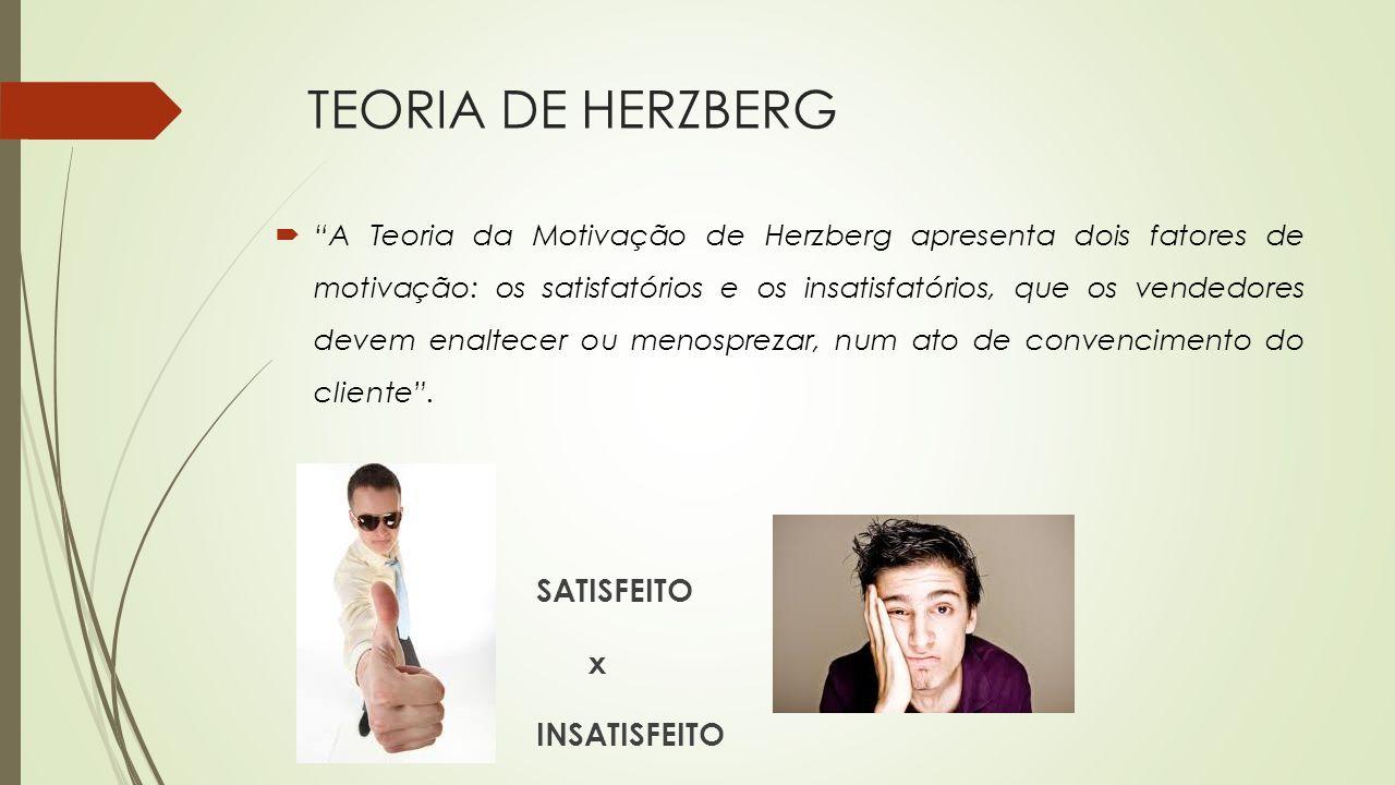 TEORIA DE HERZBERG A Teoria da Motivação de Herzberg apresenta dois fatores de motivação: os satisfatórios e os insatisfatórios, que os vendedores dev
