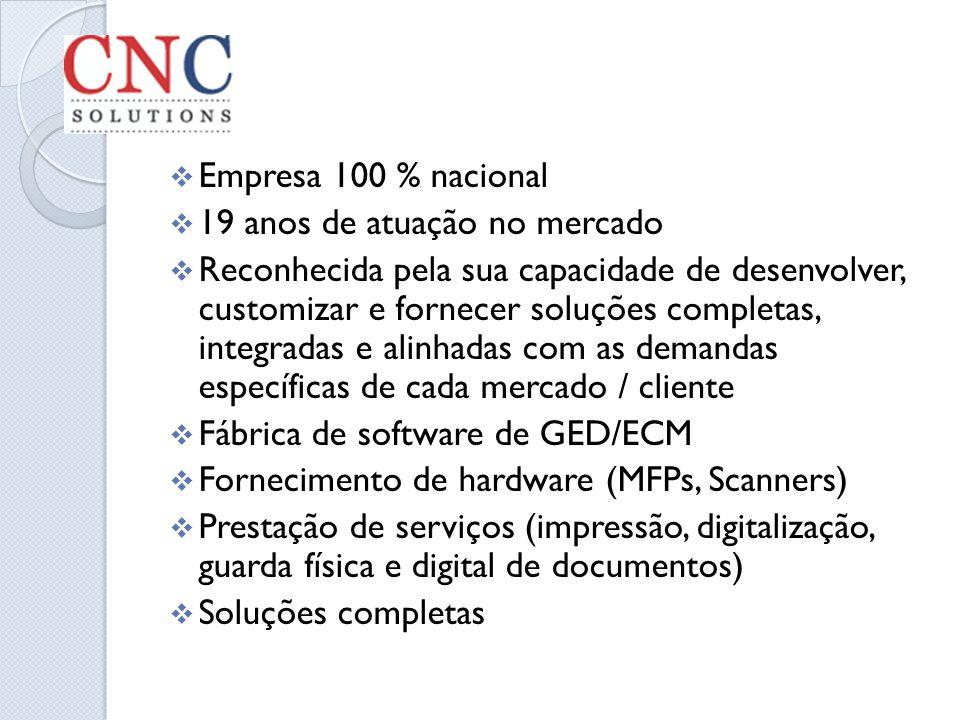 Empresa 100 % nacional 19 anos de atuação no mercado Reconhecida pela sua capacidade de desenvolver, customizar e fornecer soluções completas, integra