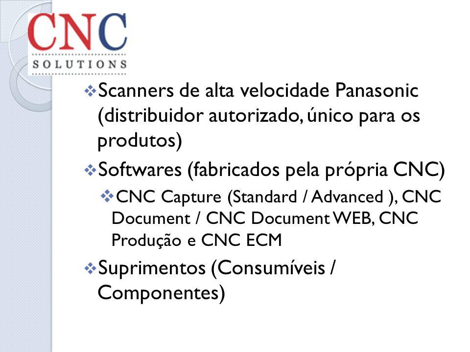 Scanners de alta velocidade Panasonic (distribuidor autorizado, único para os produtos) Softwares (fabricados pela própria CNC) CNC Capture (Standard