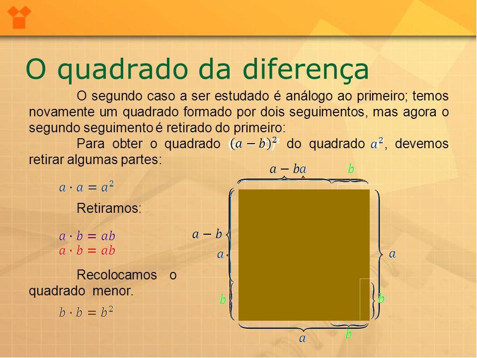 No resultado anterior, tivemos que adicionar o quadrado b² por tê-lo retirado duas vezes.