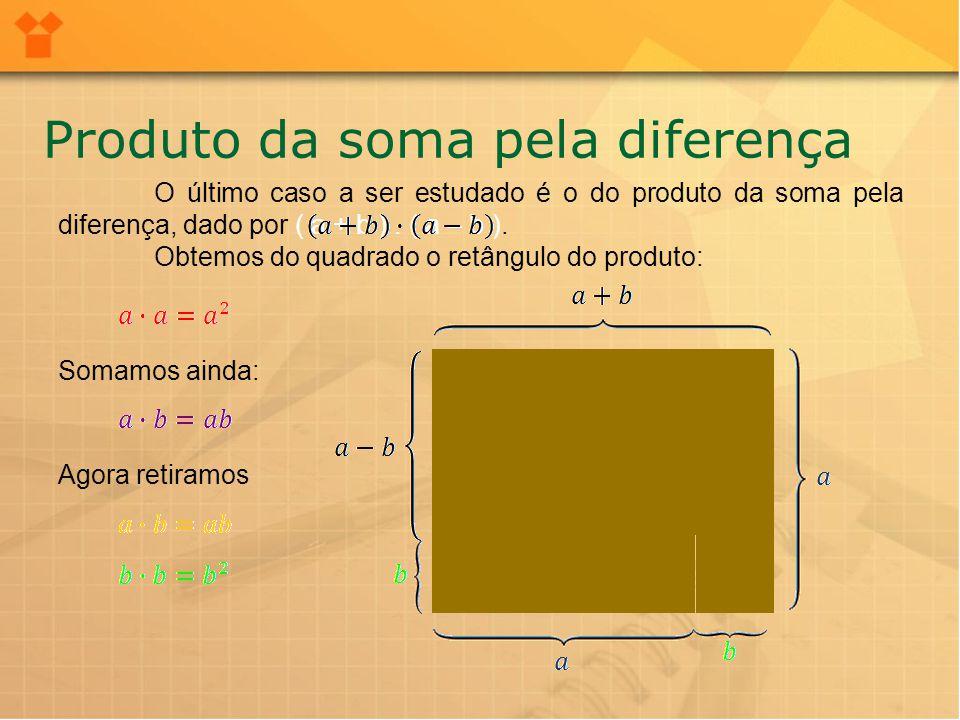 Podemos simplificar o resultado, lembrando que o retângulo ab adicionado e o retângulo ab retirado são iguais.