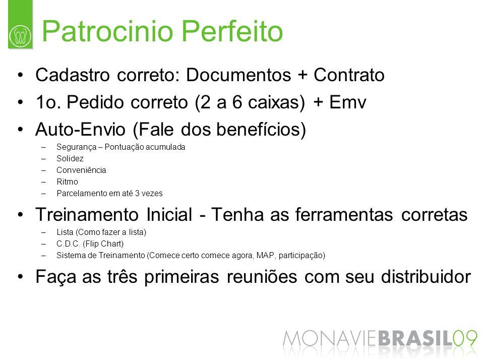 Patrocinio Perfeito Cadastro correto: Documentos + Contrato 1o. Pedido correto (2 a 6 caixas) + Emv Auto-Envio (Fale dos benefícios) –Segurança – Pont