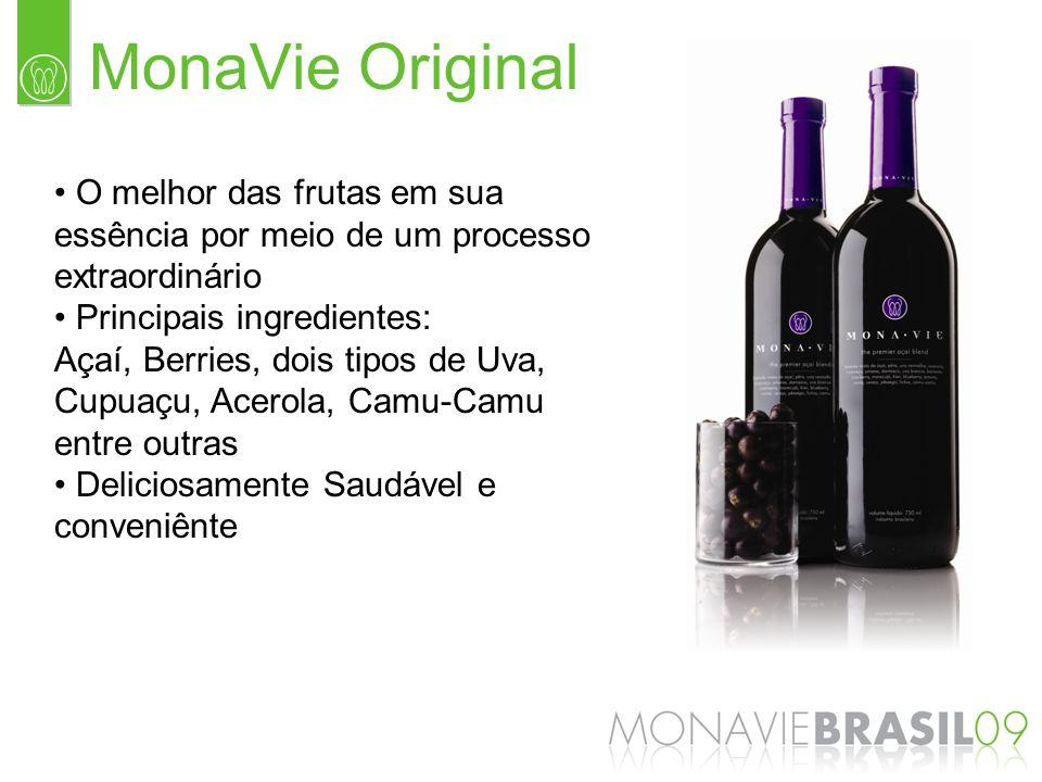 MonaVie Original O melhor das frutas em sua essência por meio de um processo extraordinário Principais ingredientes: Açaí, Berries, dois tipos de Uva,