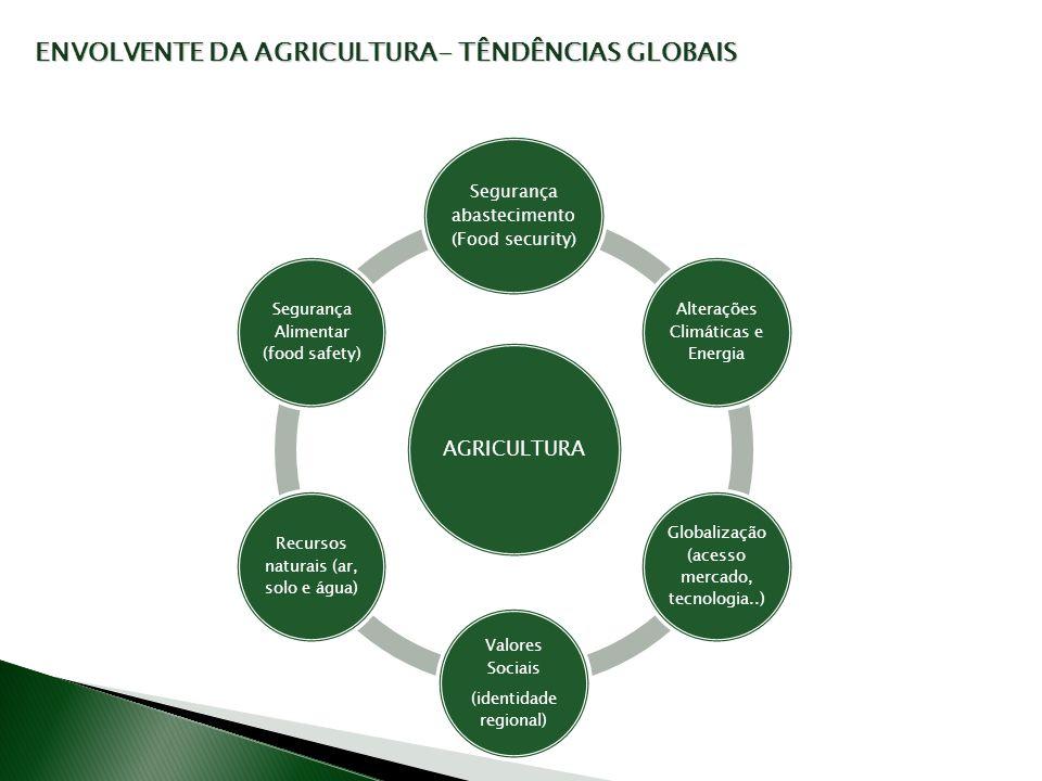 AGRICULTURA Segurança abastecimento (Food security) Alterações Climáticas e Energia Globalização (acesso mercado, tecnologia..) Valores Sociais (ident