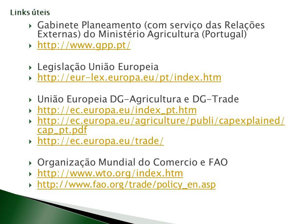 Gabinete Planeamento (com serviço das Relações Externas) do Ministério Agricultura (Portugal) http://www.gpp.pt/ Legislação União Europeia http://eur-