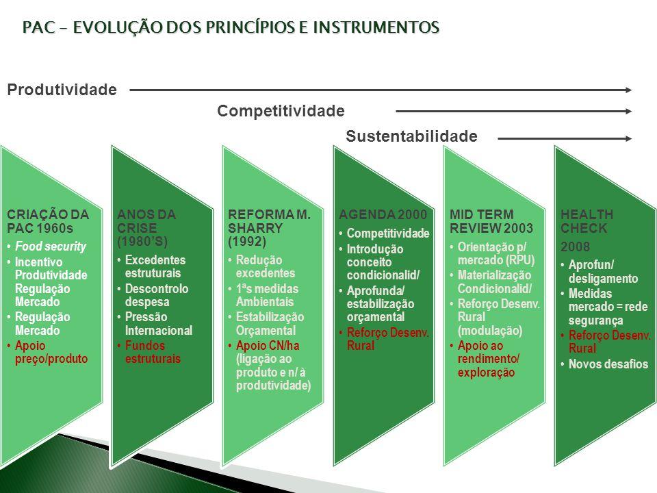 CRIAÇÃO DA PAC 1960s Food security Incentivo Produtividade Regulação Mercado Regulação Mercado Apoio preço/produto ANOS DA CRISE (1980S) Excedentes es