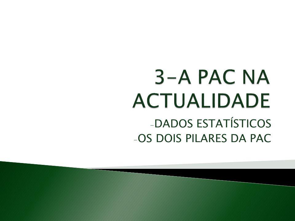 - DADOS ESTATÍSTICOS - OS DOIS PILARES DA PAC