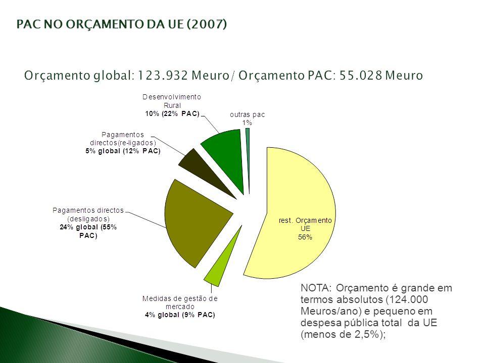 Orçamento global: 123.932 Meuro/ Orçamento PAC: 55.028 Meuro NOTA: Orçamento é grande em termos absolutos (124.000 Meuros/ano) e pequeno em despesa pú