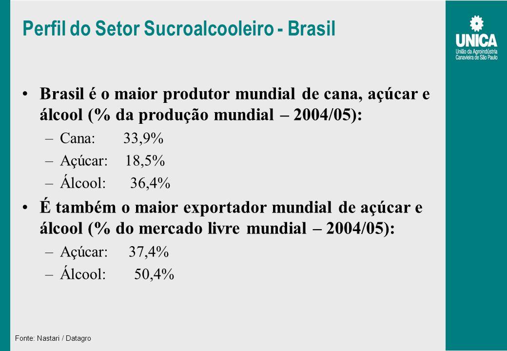 Perfil do Setor Sucroalcooleiro - Brasil Brasil é o maior produtor mundial de cana, açúcar e álcool (% da produção mundial – 2004/05): –Cana: 33,9% –A