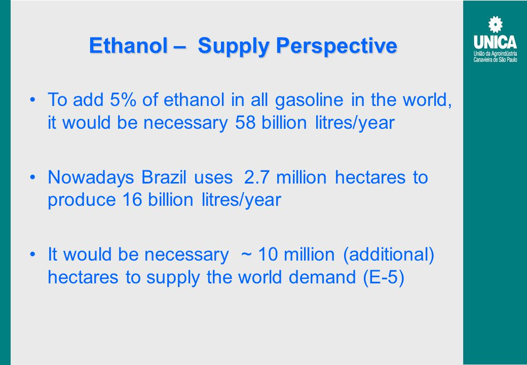 Ethanol – Supply Perspective To add 5% of ethanol in all gasoline in the world, it would be necessary 58 billion litres/year Nowadays Brazil uses 2.7