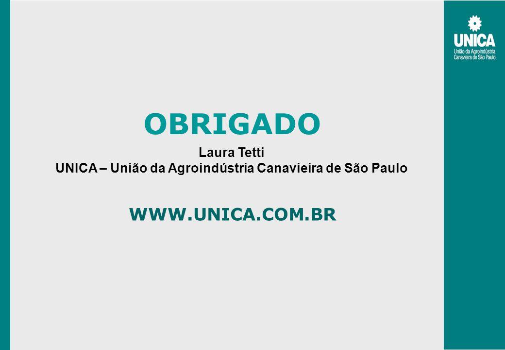 WWW.UNICA.COM.BR OBRIGADO Laura Tetti UNICA – União da Agroindústria Canavieira de São Paulo