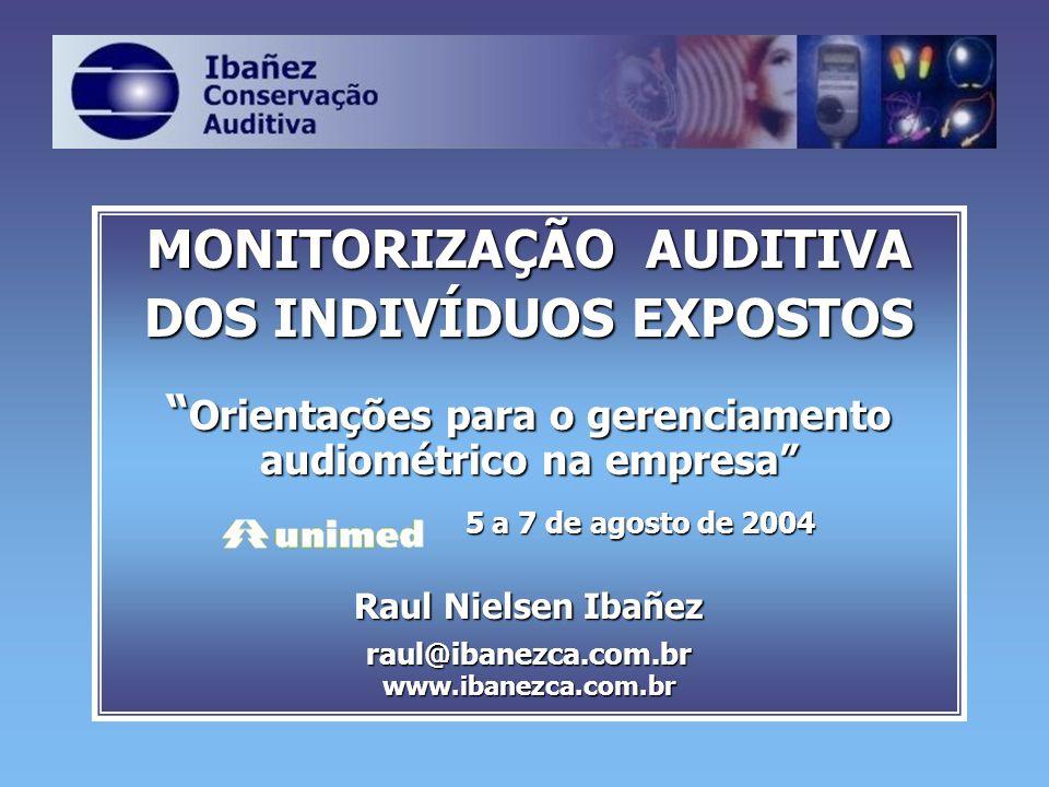 MONITORIZAÇÃO AUDITIVA DOS INDIVÍDUOS EXPOSTOS Orientações para o gerenciamento audiométrico na empresa Orientações para o gerenciamento audiométrico