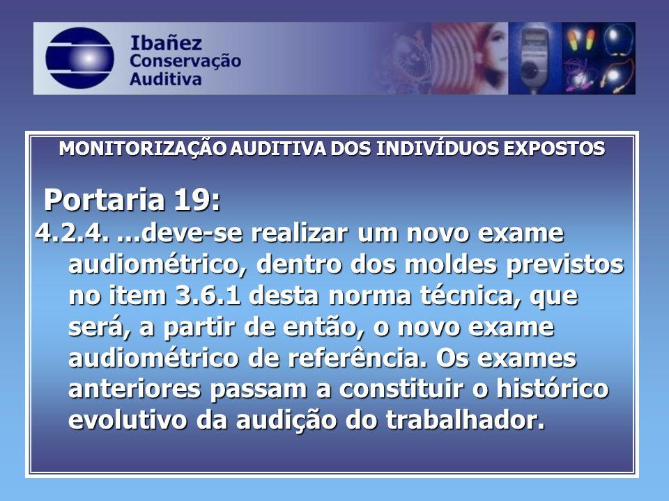 MONITORIZAÇÃO AUDITIVA DOS INDIVÍDUOS EXPOSTOS Portaria 19: Portaria 19: 4.2.4....deve-se realizar um novo exame audiométrico, dentro dos moldes previ