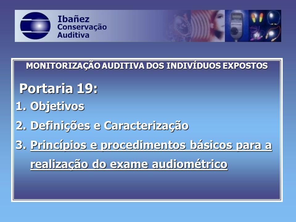 MONITORIZAÇÃO AUDITIVA DOS INDIVÍDUOS EXPOSTOS Portaria 19: Portaria 19: 1.Objetivos 2.Definições e Caracterização 3.Princípios e procedimentos básico