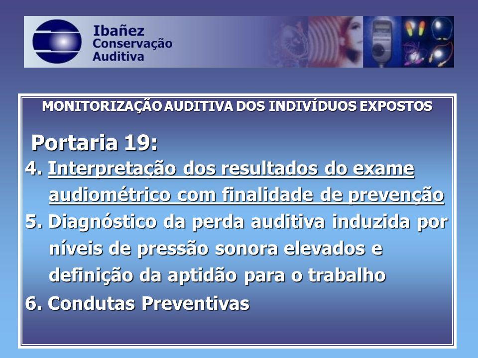 MONITORIZAÇÃO AUDITIVA DOS INDIVÍDUOS EXPOSTOS Portaria 19: Portaria 19: 4. Interpretação dos resultados do exame audiométrico com finalidade de preve