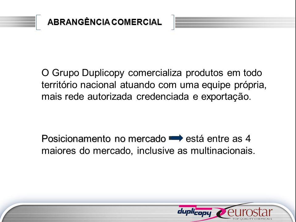 ABRANGÊNCIA COMERCIAL O Grupo Duplicopy comercializa produtos em todo território nacional atuando com uma equipe própria, mais rede autorizada credenc