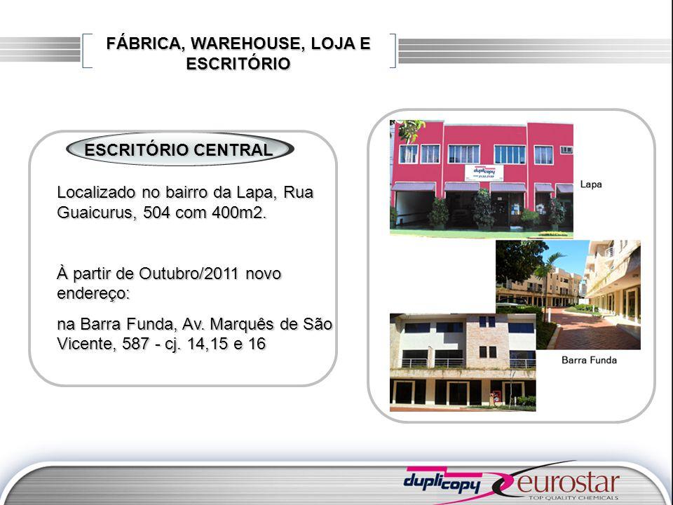 FÁBRICA, WAREHOUSE, LOJA E ESCRITÓRIO ESCRITÓRIO CENTRAL Localizado no bairro da Lapa, Rua Guaicurus, 504 com 400m2. À partir de Outubro/2011 novo end