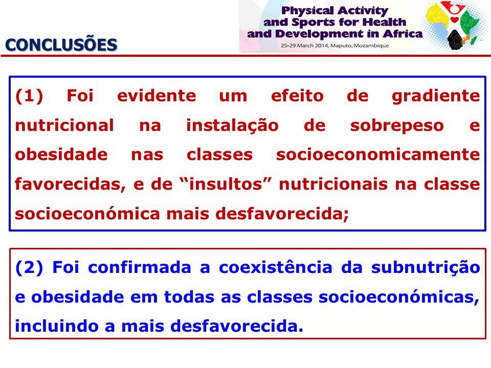 CONCLUSÕES (1) Foi evidente um efeito de gradiente nutricional na instalação de sobrepeso e obesidade nas classes socioeconomicamente favorecidas, e d