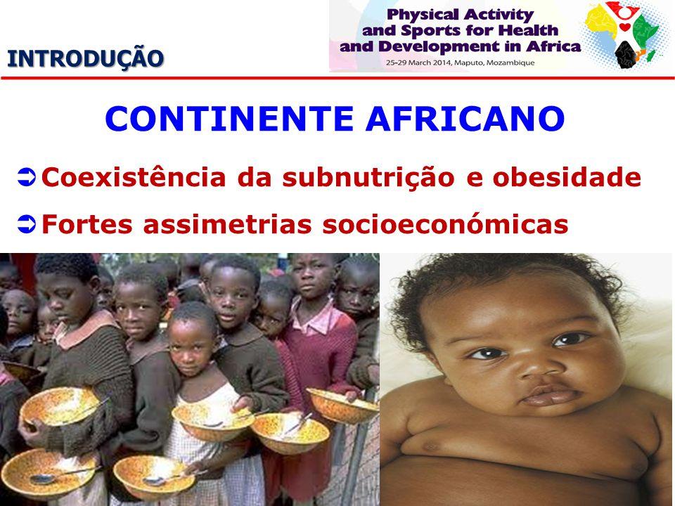 INTRODUÇÃO CONTINENTE AFRICANO Coexistência da subnutrição e obesidade Fortes assimetrias socioeconómicas