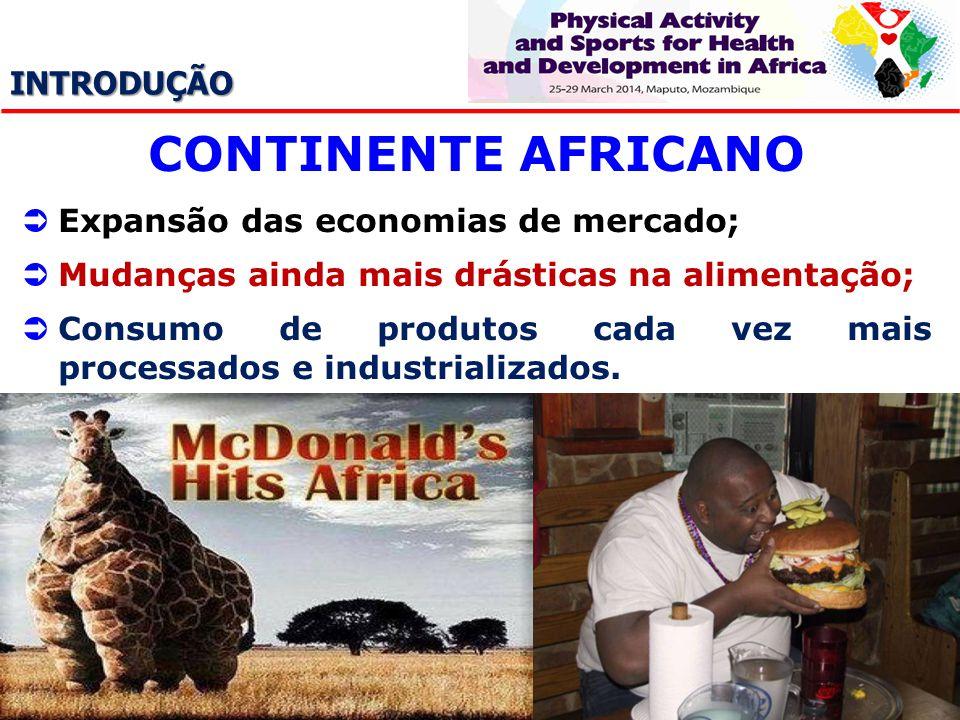 INTRODUÇÃO CONTINENTE AFRICANO Expansão das economias de mercado; Mudanças ainda mais drásticas na alimentação; Consumo de produtos cada vez mais proc